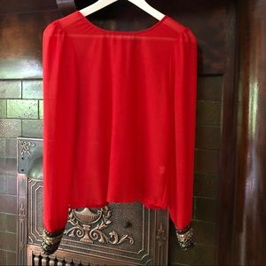 Ladakh Red Sequin Cuff Blouse, Size 2 US